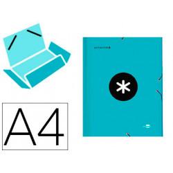 Carpeta liderpapel antartik gomas a4 3 solapas carton forrado color turques