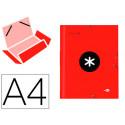 Carpeta liderpapel antartik gomas a4 3 solapas carton forrado color roja