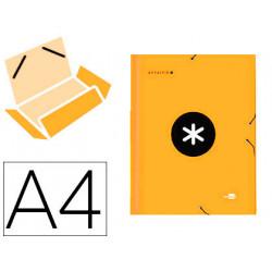 Carpeta liderpapel antartik gomas a4 3 solapas carton forrado color naranja