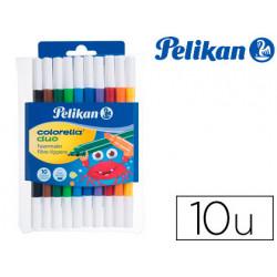 Rotulador pelikan colorella bipunta 20 colores estuche plastico 10 unidades