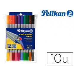 Rotulador pelikan colorella twin bipunta 20 colores estuche plastico 10 uni