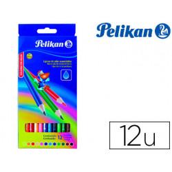 Lapices de colores pelikan triangulares acuarelable 12 colores mina 3mm caj