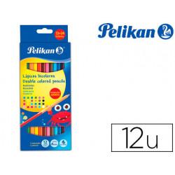 Lapices de colores pelikan duo bicolor 24 colores 12 lapices caja de carton