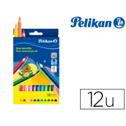 Lapices de colores pelikan triangulares 12 colores mina 3mm caja de carton