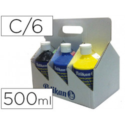 Tempera pelikan escolar 500 ml especial colegio pack 6 botellas colores sur