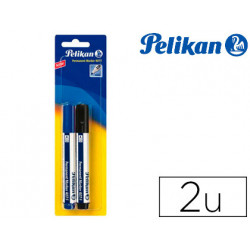 Rotulador pelikan marcador permanente marker 407 negro / azul blister de 2