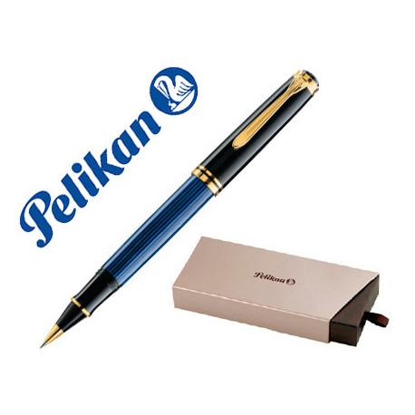 Pluma pelikan souveran m400 negro / azul detalles oro plumin f