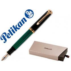 Pluma pelikan souveran m800 negro / verde detalles oro plumin m