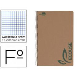 Cuaderno espiral liderpapel folio ecouse tapa cartulina kraft 80h papel rec