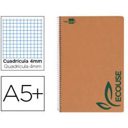 Cuaderno espiral liderpapel cuarto ecouse tapa cartulina kraft 80h papel re