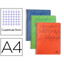 Cuaderno espiral liderpapel a4 micro classic tapa plastico 140h 60 gr cuadr