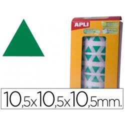 Gomets autoadhesivos triangulares 105x105x105 mm verde en rollo