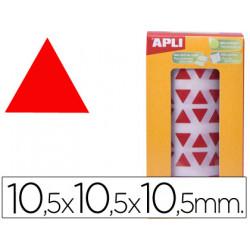 Gomets autoadhesivos triangulares 105x105x105 mm rojo en rollo