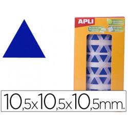 Gomets autoadhesivos triangulares 105x105x105 mm azul en rollo