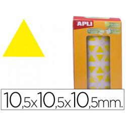 Gomets autoadhesivos triangulares 105x105x105 mm amarillo en rollo