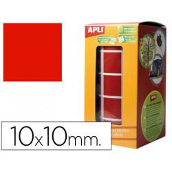 Gomets autoadhesivos cuadradas 10x10 mm rojo en rollo
