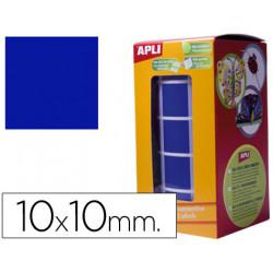 Gomets autoadhesivos cuadradas 10x10mm azul en rollo