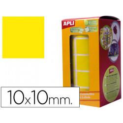 Gomets autoadhesivos cuadradas 10x10 mm amarillo en rollo