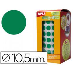 Gomets autoadhesivos circulares 105mm verde en rollo