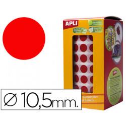 Gomets autoadhesivos circulares 105 mm rojo en rollo