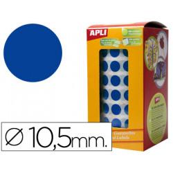 Gomets autoadhesivos circulares 105mm azul en rollo