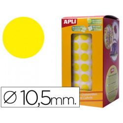Gomets autoadhesivos circulares 105mm amarillo en rollo