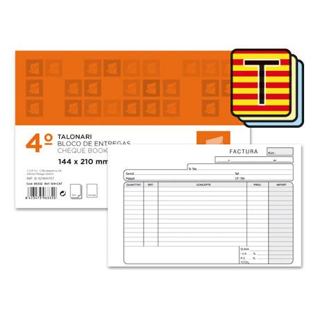 Talonario liderpapel facturas cuarto original y 2 copias t318 apaisado con