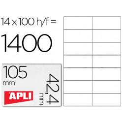Etiqueta adhesiva apli 1277 tamaño 105x424 mm fotocopiadora laser e inkj