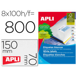 Etiquetas apli adh 105x70 caja con 100 h din a4 800 et