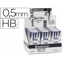 Minas staedtler grafito 05 mm hb polo 257 expositor de 144 estuches