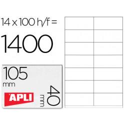 Etiqueta adhesiva apli 1275 tamaño 105x40 mm fotocopiadora laser inkjet
