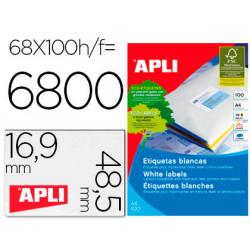 Etiquetas adhesivas apli 01282 tamaño 485x169 mm para fotocopiadora laser