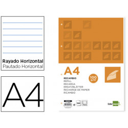 Recambio liderpapel a4 100 hojas 100g/m2 horizontal con ddoble margen 4 tal