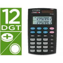 Calculadora citizen bolsillo et220 12 digitos doble pantalla con tecla de