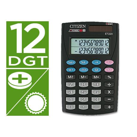 Calculadora citizen bolsillo et220 12 digitos doble pantalla con tecla de
