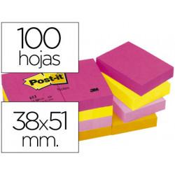 Bloc de notas adhesivas quita y pon postit 38x51 mm neon pack de 12 blocs