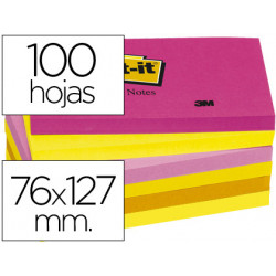 Bloc de notas adhesivas quita y pon postit 76x127 mm neon pack de 6 blocs