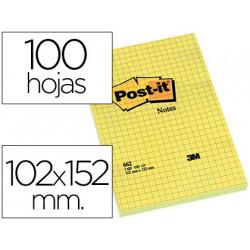 Bloc de notas adhesivas quita y pon postit 102x152 mm cuadriculado 662