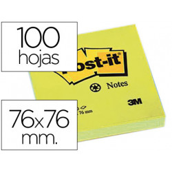 Bloc de notas adhesivas quita y pon postit 76x76 mm papel reciclado amaril