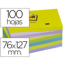 Bloc de notas adhesivas quita y pon postit 76x127 mm ultra intenso pack de