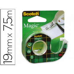 Cinta adhesiva scotch magic invisible 75x19 mm en portarrollo