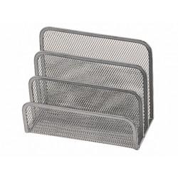 Soporte para cartas qconnect metalico rejilla gris 175x140x82 mm