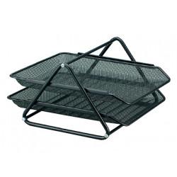 Bandeja sobremesa metalica qconnect rejilla gxa100 negra2 bandejas movible