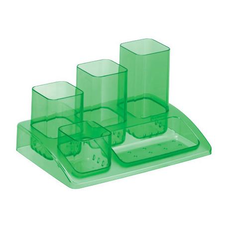 Organizador sobremesa plastico offisys 5 departamentos verde