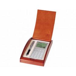 Juego boligrafo y calculadora en estuche de madera