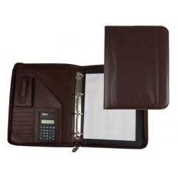 Carpeta portafolios 45848 marron 260x355 mm cremallera 4 anillas 40 mm cal