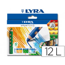 Lapices de colores acuarelable lyra groove tripletriangular minas 10mm caja