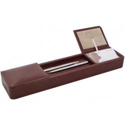 Organizador sobremesa artesania en madera y forrado en polipiel 385x85x4
