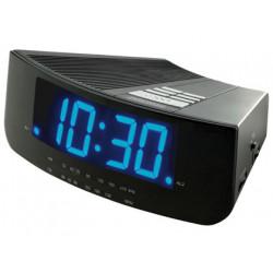 Radio reloj despertador con dos alarmas iluminacion led azul