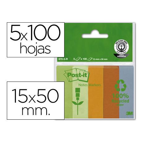 Bloc de notas adhesivas quita y pon recicladas postit 15x50mm verdenaranj